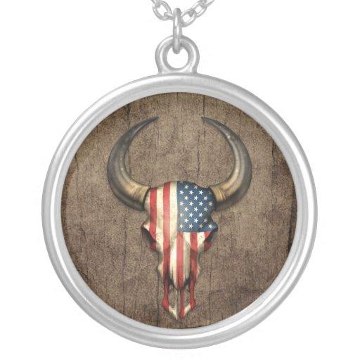 American Flag Bull Skull on Wood Effect Pendant