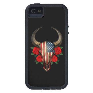 American Flag Bull Skull with Red Roses Case For iPhone 5