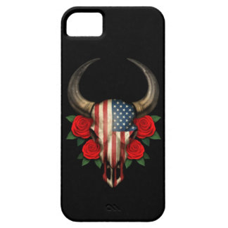 American Flag Bull Skull with Red Roses iPhone 5 Cases