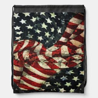 American Flag-Camouflage Drawstring Backpacks