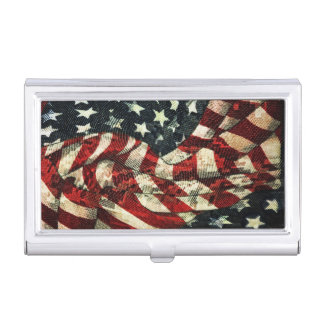 American Flag-Camouflage by Shirley Taylor Business Card Holder