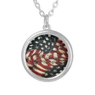 American Flag-Camouflage by Shirley Taylor Round Pendant Necklace