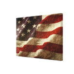 American Flag Carved in Stone Stretched Canvas Print