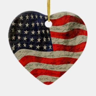 American flag ceramic heart decoration