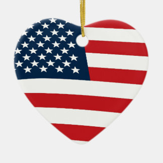 American flag ceramic heart decoration