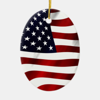 American Flag Ceramic Oval Decoration