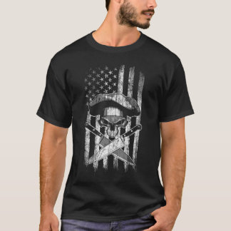 American Flag Chef Skull and Crossed Knives T-Shirt