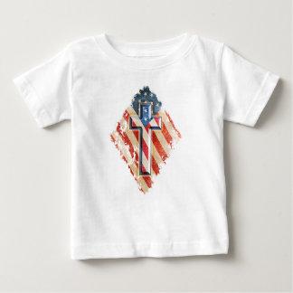 American Flag Christian Faith Cross Vintage Look Baby T-Shirt