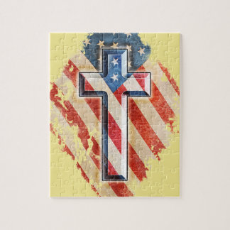 American Flag Christian Faith Cross Vintage Look Jigsaw Puzzle