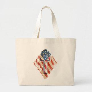 American Flag Christian Faith Cross Vintage Look Large Tote Bag