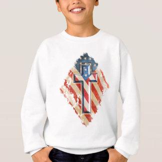 American Flag Christian Faith Cross Vintage Look Sweatshirt