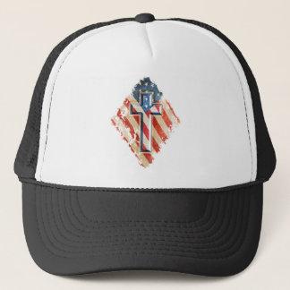 American Flag Christian Faith Cross Vintage Look Trucker Hat
