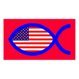 American Flag Christian Fish Symbol Business Cards