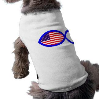 American Flag Christian Fish Symbol Dog T-shirt