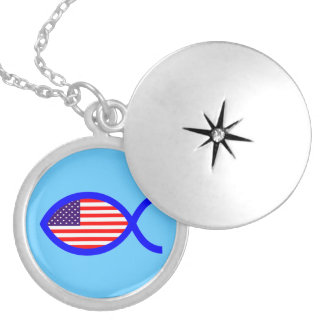 American Flag Christian Fish Symbol Personalized Necklace