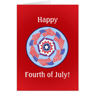 American Flag Circle Fourth of July Card