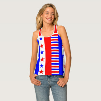 American Flag Colors Stars and Stripes Funny Singlet