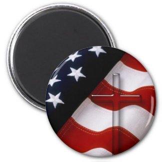 American Flag Cross 1 Round Magnets
