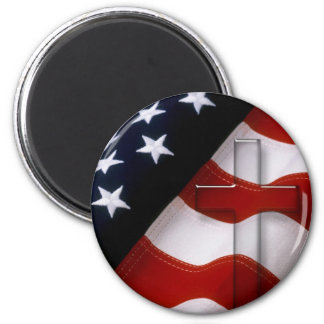 American Flag Cross 2 Round Magnets