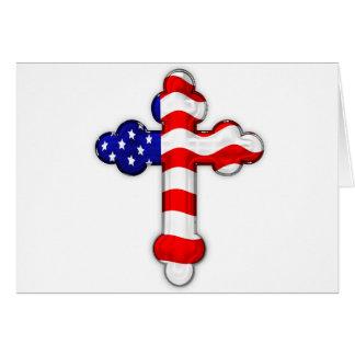 American Flag Cross Greeting Card