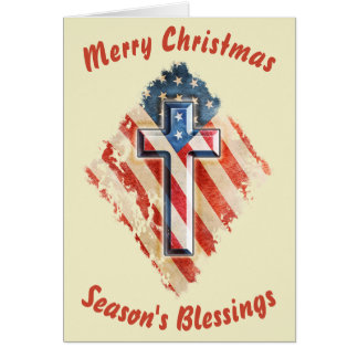 American Flag Cross Vintage Look Christmas Card