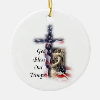 American Flag Cross with Praying Angel Ceramic Ornament