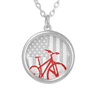 American Flag Cycling T-Shirt Silver Plated Necklace