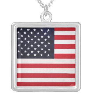 American Flag Design Square Silver Necklace
