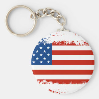 American Flag Distressed Basic Round Button Key Ring