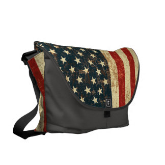 American Flag Distressed Courier Bag