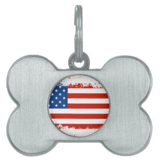 American Flag Distressed Pet ID Tag