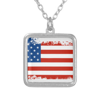 American Flag Distressed Silver Plated Necklace