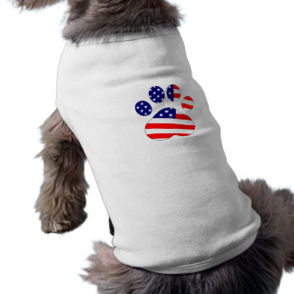 American Flag Dog Paw Sleeveless Dog Shirt