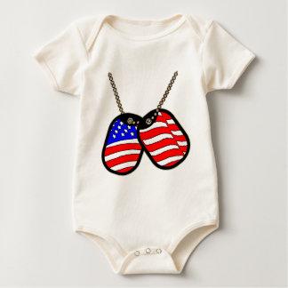 American Flag DogTags Baby Bodysuit