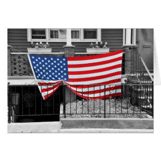 American Flag Draped on Home Blank Greeting Card