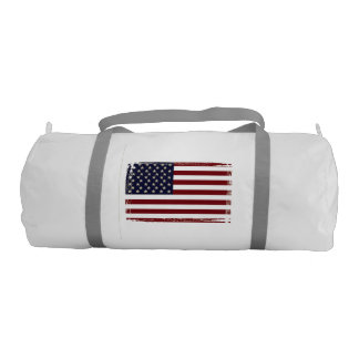 'American Flag' Duffle Bag with Silver Straps Gym Duffel Bag