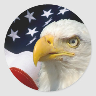 American Flag Eagle-5 Round Stickers