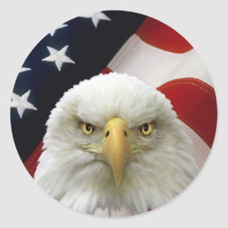 American Flag Eagle-7 Round Stickers