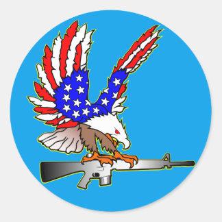 American Flag Eagle Ar-15 M16 Tattoo Classic Round Sticker