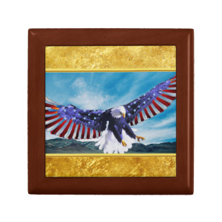 American flag Eagle flying in the sky gold foil Gift Box