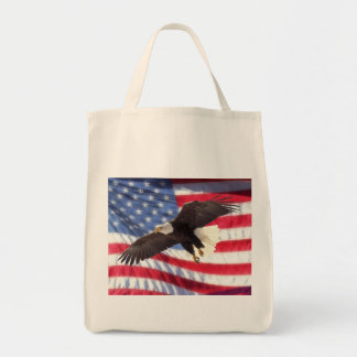 American Flag & Eagle Grocery Tote