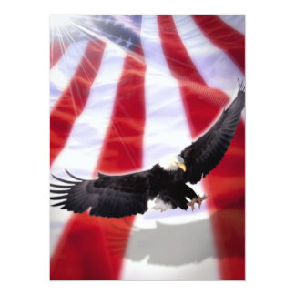 "American Flag & Eagle Invitation 5.5"" X 7.5"" Invitation Card"
