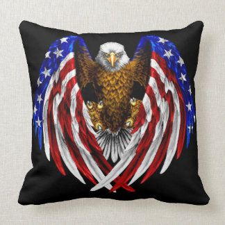 American Flag Eagle Throw Pillow