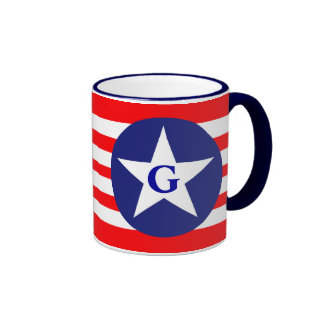 American Flag -Emblem Red Blue Star, your Initials Ringer Mug
