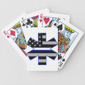 American Flag EMS Star of Life White Line Decal.jp Bicycle Playing Cards