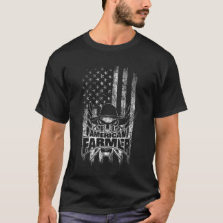 American Flag Farmer Skull and Pitchforks T-Shirt