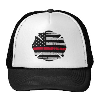 American Flag Fireman Cross Thin Red Line Cap