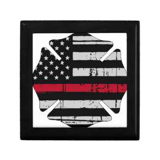 American Flag Fireman Cross Thin Red Line Small Square Gift Box