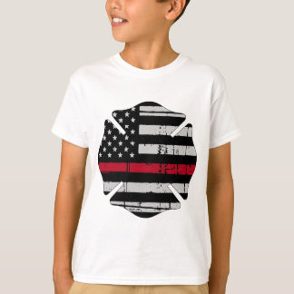 American Flag Fireman Cross Thin Red Line T-Shirt
