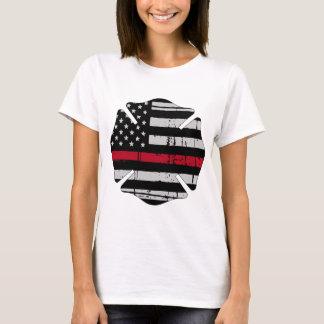 American Flag Fireman Cross Thin Red Line T-Shirt